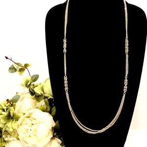 BANANA REPUBLIC gold multi-chain long necklace NWT